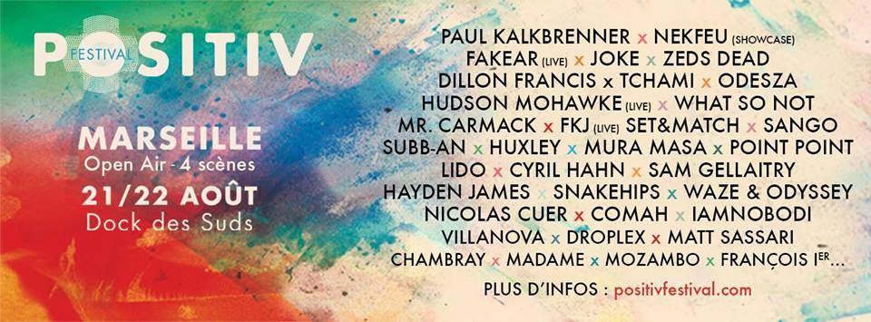 Positiv Festival 2015 Marseille Programmation et Places